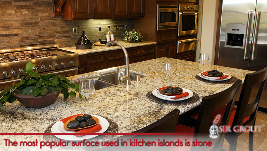 The most popular surface used in kitchen islands is stone