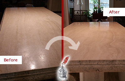 Before and After picture of a marble countertop polishing service