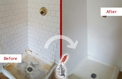 Before and After picture of a shower restoration service