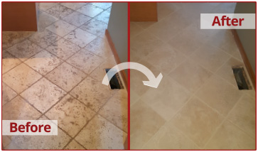 Before and after picture of a tumbled marble floor job