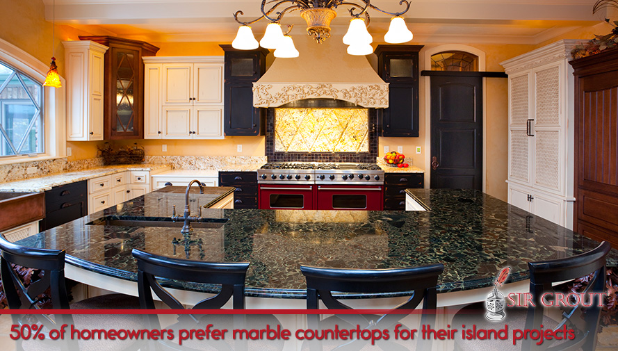 50% of homeowners prefer marble countertops for their island projects