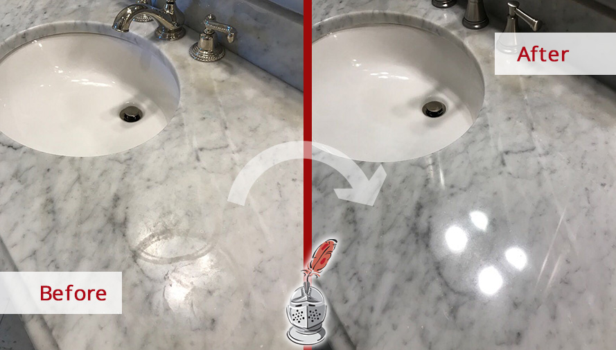 Before and after picture of a grey marble countertop restoration