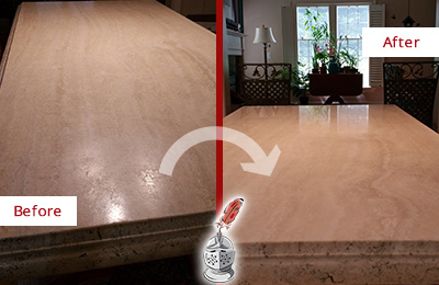 Before and after picture of dull kitchen marble countertop restoration