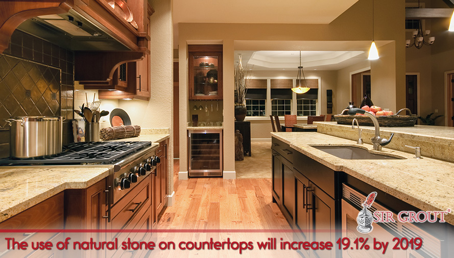 Picture of a kitchen with natural stone countertops