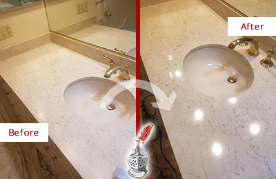 Before and after picture of beige marble vanity top