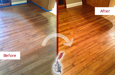 Before and after picture of dull wood floor restoration