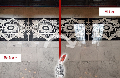 Before and After picture of a marble floor polishing service