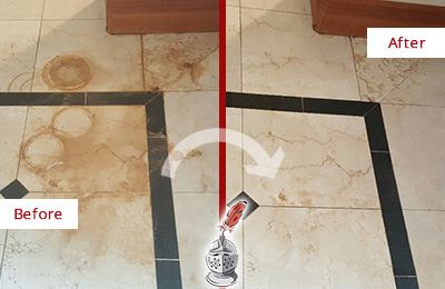 Before and After Picture of a Marble Floor Stain Removal