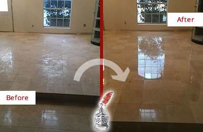 Picture of Travertine Floor Before and After Restoration