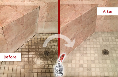 Before and After Picture of Shower Floor Restoration