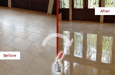 Before and After Picture of a Marble Floor Stone Polishing