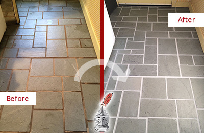 Before and after Picture of This Grout Sealing Job